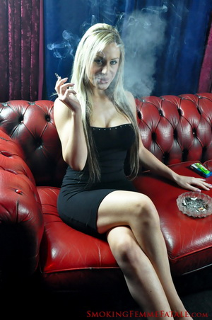 Smoking In A Black Dress